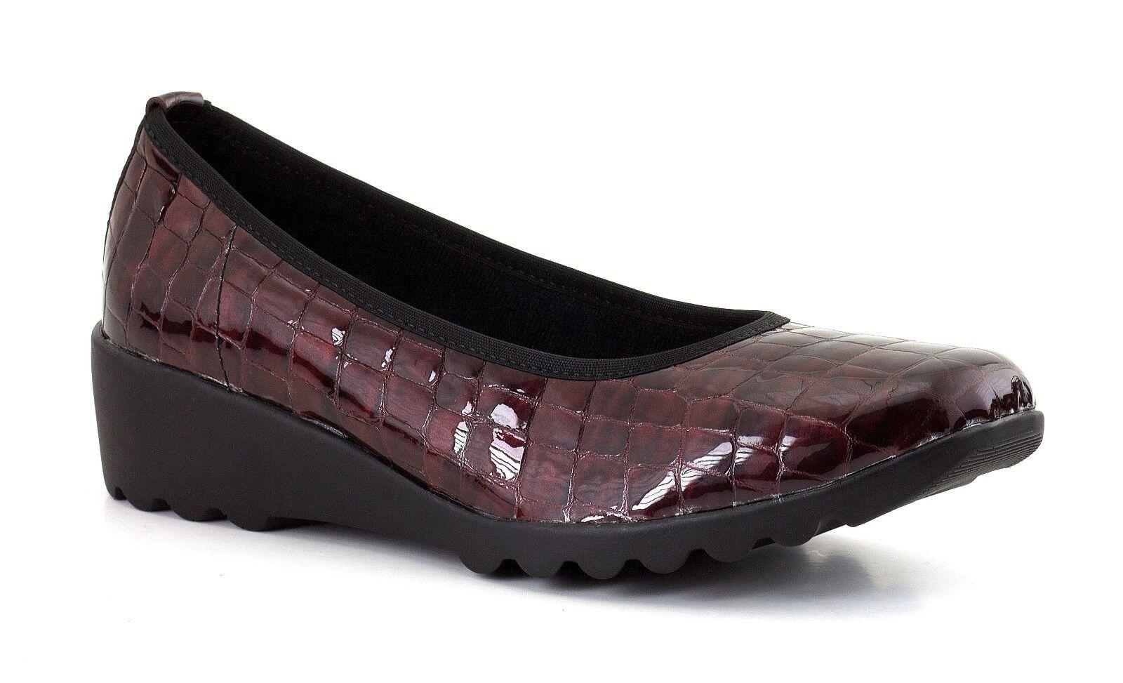 Ladies Bordeaux Wedge Patent shoes Romika Carree UK Size 4, 6, 6.5