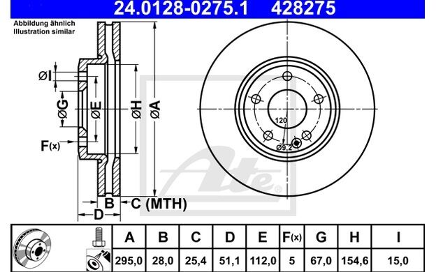 ATE Disco de freno x1 295mm ventilado para MERCEDES  A B 24.0128-0275.1