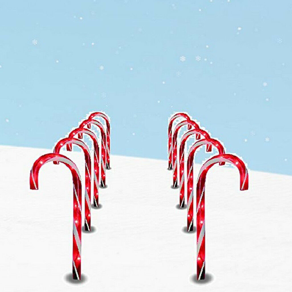 10 Solar Christmas Candy Cane Pathway Markers for Indoor Outdoor Decor Light