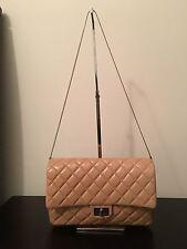 AUTHENTIC CHANEL Mademoiselle Tan/Beige Reissue Flap Shoulder Clutch Bag