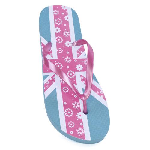 Ladies Womens Union Jack Floral Design Print Summer Beach Flip Flops