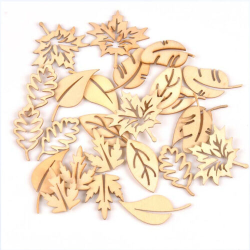 Hollow Pendant Scrapbooking Leaves Pattern Ornament Embellishment Natural Wood