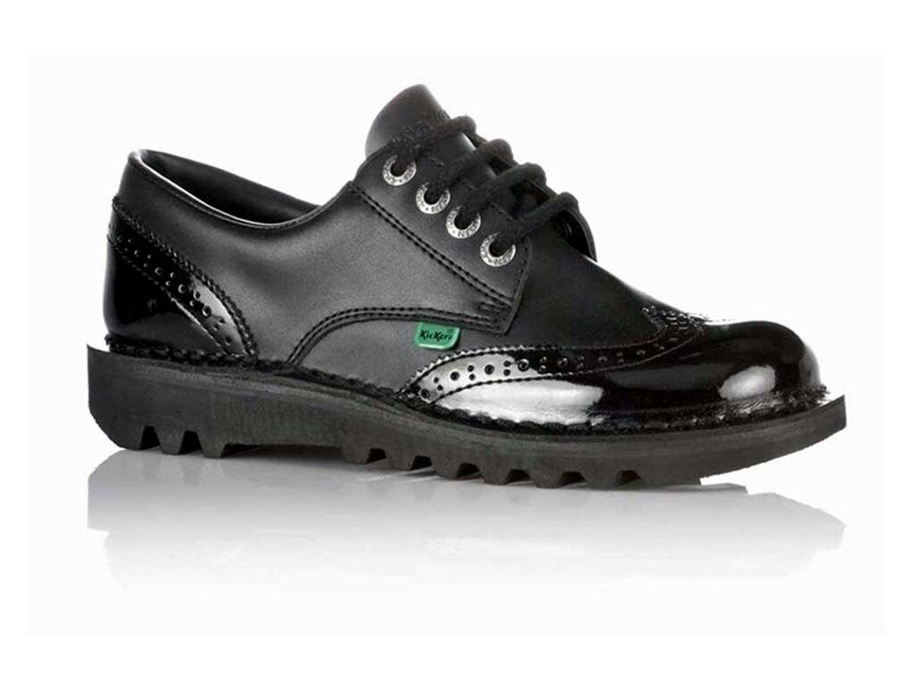 Mujer Kickers Oxford Kickers LO Zapato Trabajo Oxford Kickers Core Cuero Negro 344a66