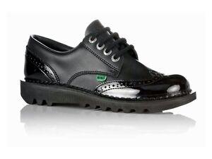 Sale-Womens-Kickers-KICK-LO-BROGUE-CORE-Black-Leather-Work-School-Shoes