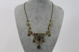 Grosses-Prunk-Collier-Halskette-Schmuckmetall-Steinbesatz-Barock-Stil