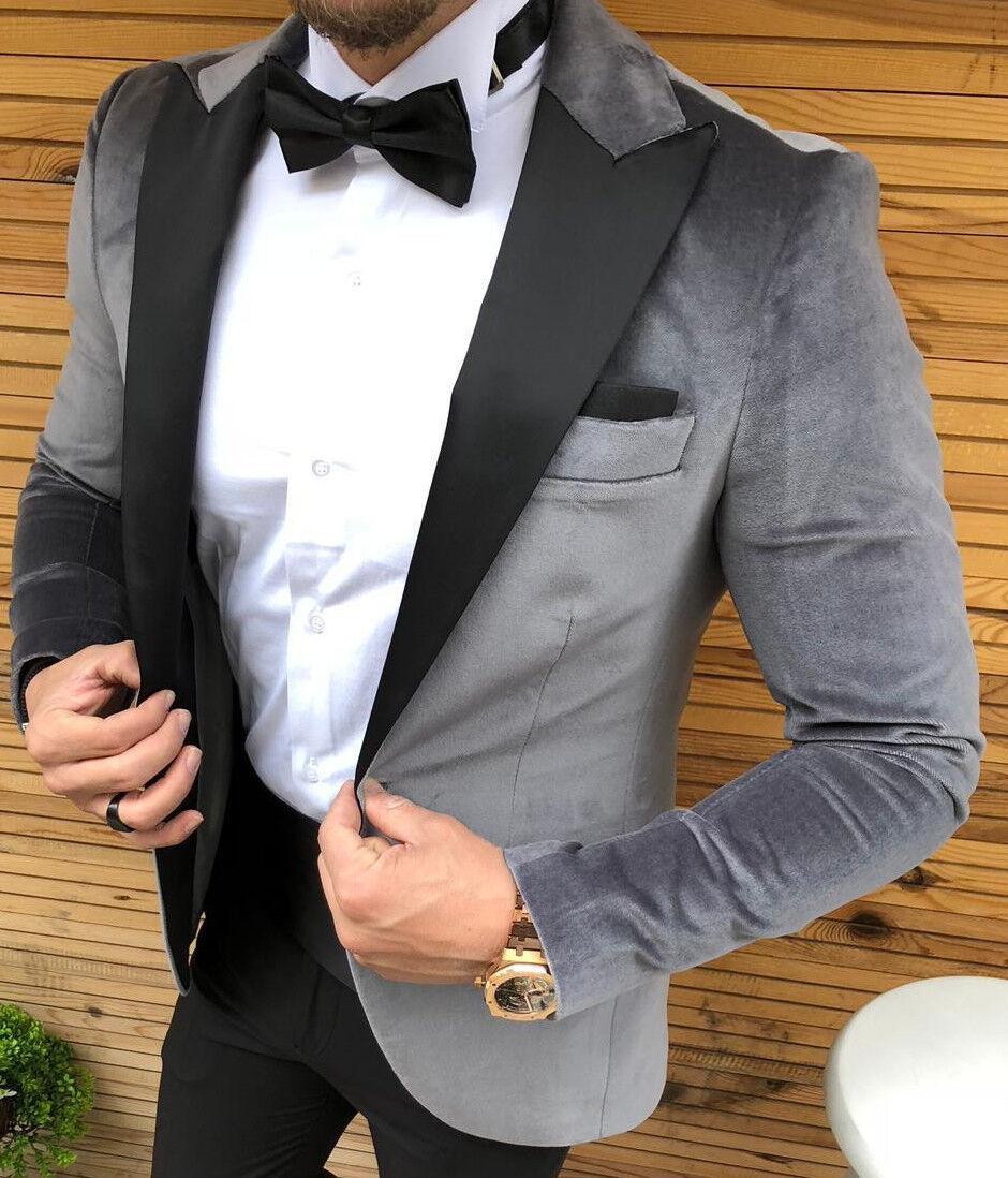 Grau Silber Samt Smoking Partyanzug Wedding Suit Herrenanzug Tailliert Slim Slim Slim Fit   | Berühmter Laden  | Großartig  | Passend In Der Farbe  0ce798