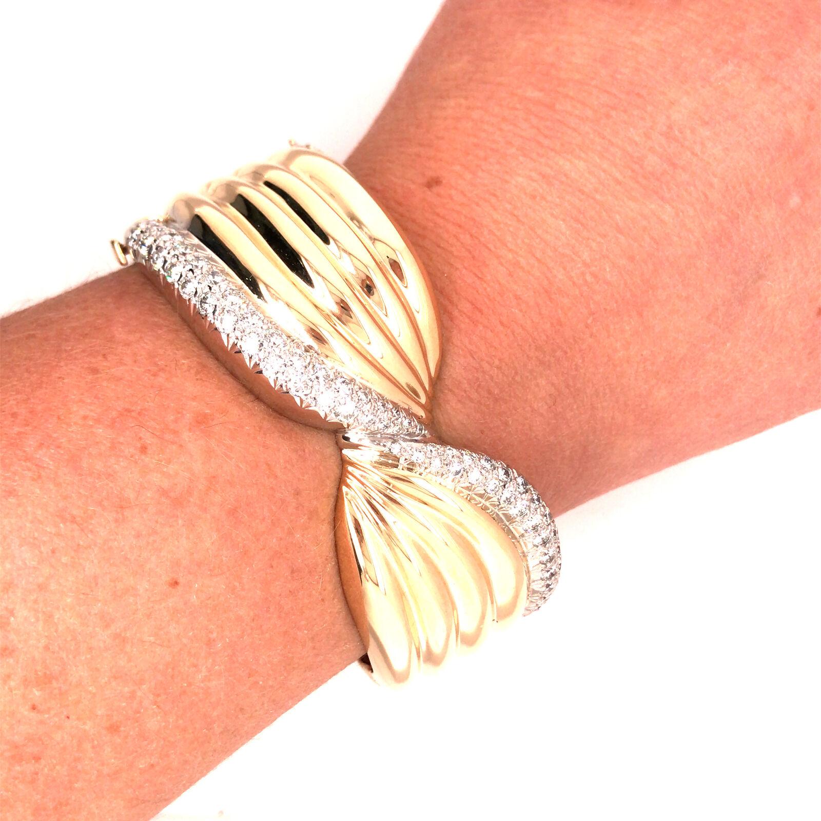 14K Wide Diamond Twist Cuff Two-Tone Gold - image 7