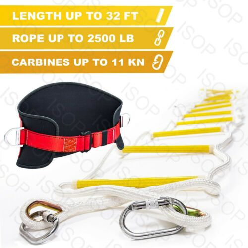 Emergency Fire Escape Rope Ladder 32ft 4 Story Safety Ladders for Fire Escape