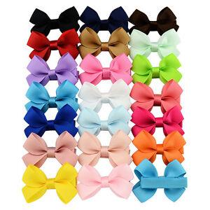 20pcs Big Hair Bows Boutique Girls Alligator Clip Grosgrain Ribbon Headband Y8T6
