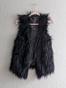 Ark-amp-Co-Faux-Long-Fur-Vest-Size-Small-Black-Sleeveless