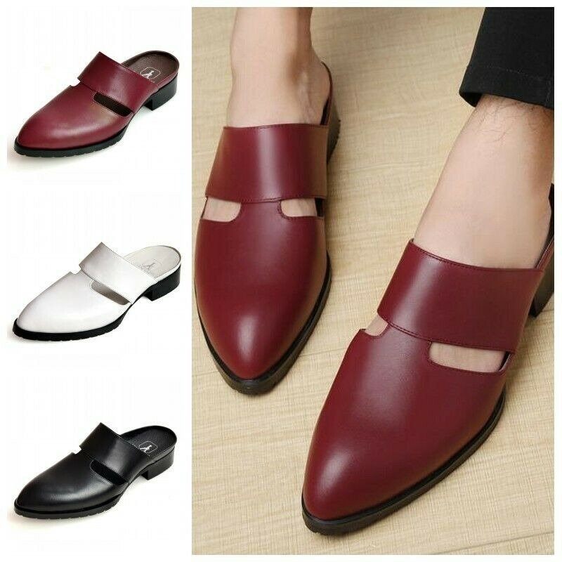 Mens Close Toe Pull On On On Slippers Real Leather Leisure Loafers Mules Sandals scarpe 4de5b4