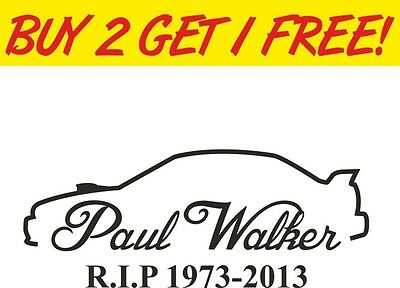 GuFuny Car Stickers Decor Motorcycle Paul Walker Quote Memorial Car Sticker Graphic Car Decal White