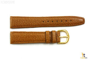 18mm-Genuine-Tan-Pigskin-Leather-Stitched-Watch-Band-Strap-Gold-Tone-Buckle