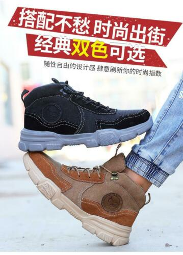 Mens Safety steel toe lace up outdoor Work Walking antiskid casual Ankle boots