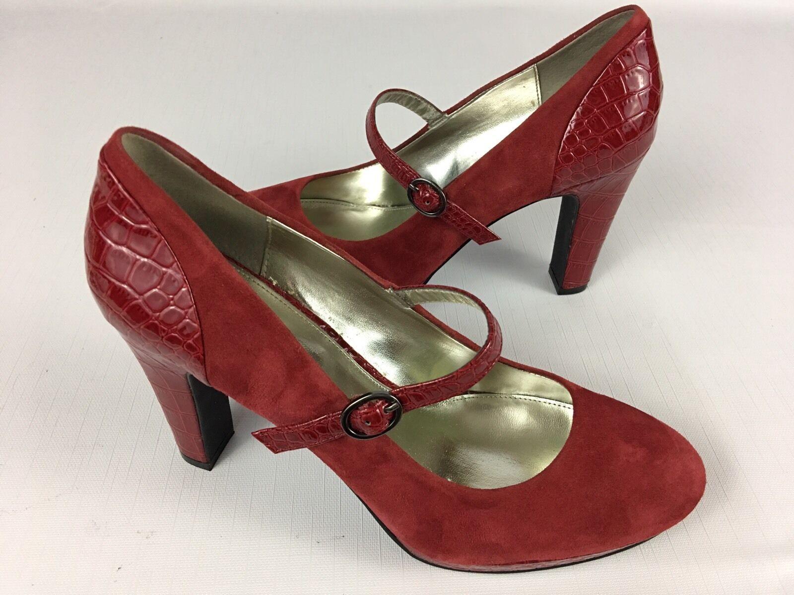 Women's ALFANI Croc Embossed Leather RED Mary Jane Platform Pumps Heels - 9M