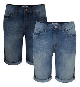 Threadbare New Mens Denim Shorts Mid Dark Blue Vintage Faded