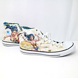 741cf31b0fc0 DC Comics Wonder Woman White Converse Hi Top Sneakers Shoes Mens Sz ...