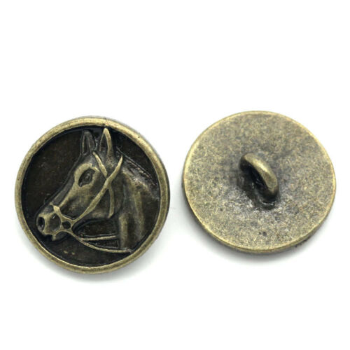 """5//8/"""" Regalo por mayor Botones De Metal Cabeza De Caballo Tallado Redondo Bronce Tono 15mm"""