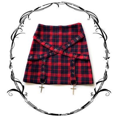 Vintage Gothic Punk Cool Plaid Japanese Harajuku Preppy Style Slim Bust Skirt