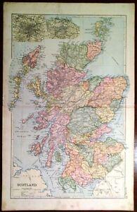 Cartina Stradale Della Scozia.Carta Geografica Antica Scozia Scotland Glasgow Edimburgo Bacon 1894 Old Map Ebay