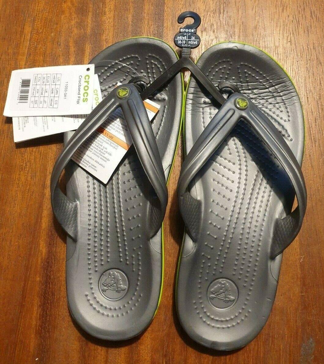 Crocs Unisex's Crocband Adults Grey/Green Flip Flops UK M5/W6 FREE POST