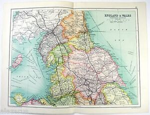 Original 1909 Map of Northern England & Wales by John Bartholomew
