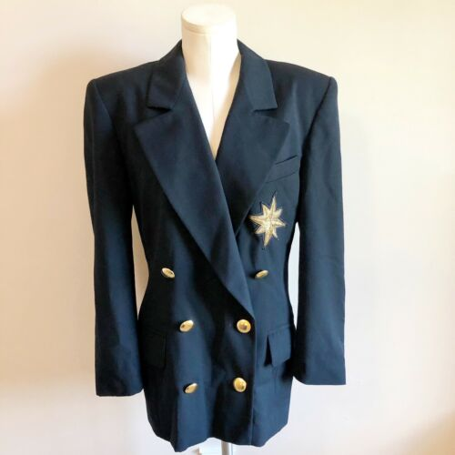 Escada Vintage Womens Navy Wool Blazer 1980s Gold
