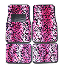 4pc Set Front & Rear Pink Leopard Animal Print Carpet Car and Truck Floor Mats
