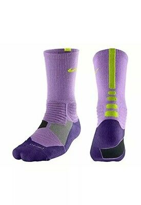 NIKE Hyper Elite High Quarter Basketball Socks Crimson Volt Women 4-6 Kids 3Y-5Y