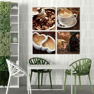 Details about Canvas Painting Coffee Kitchen Decoration Modern Wall Art  Pictures 4 Pieces New