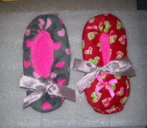 JUSTICE HEARTS SLIPPERS MULTI COLORS ONE SIZE NEW WITH TAGS