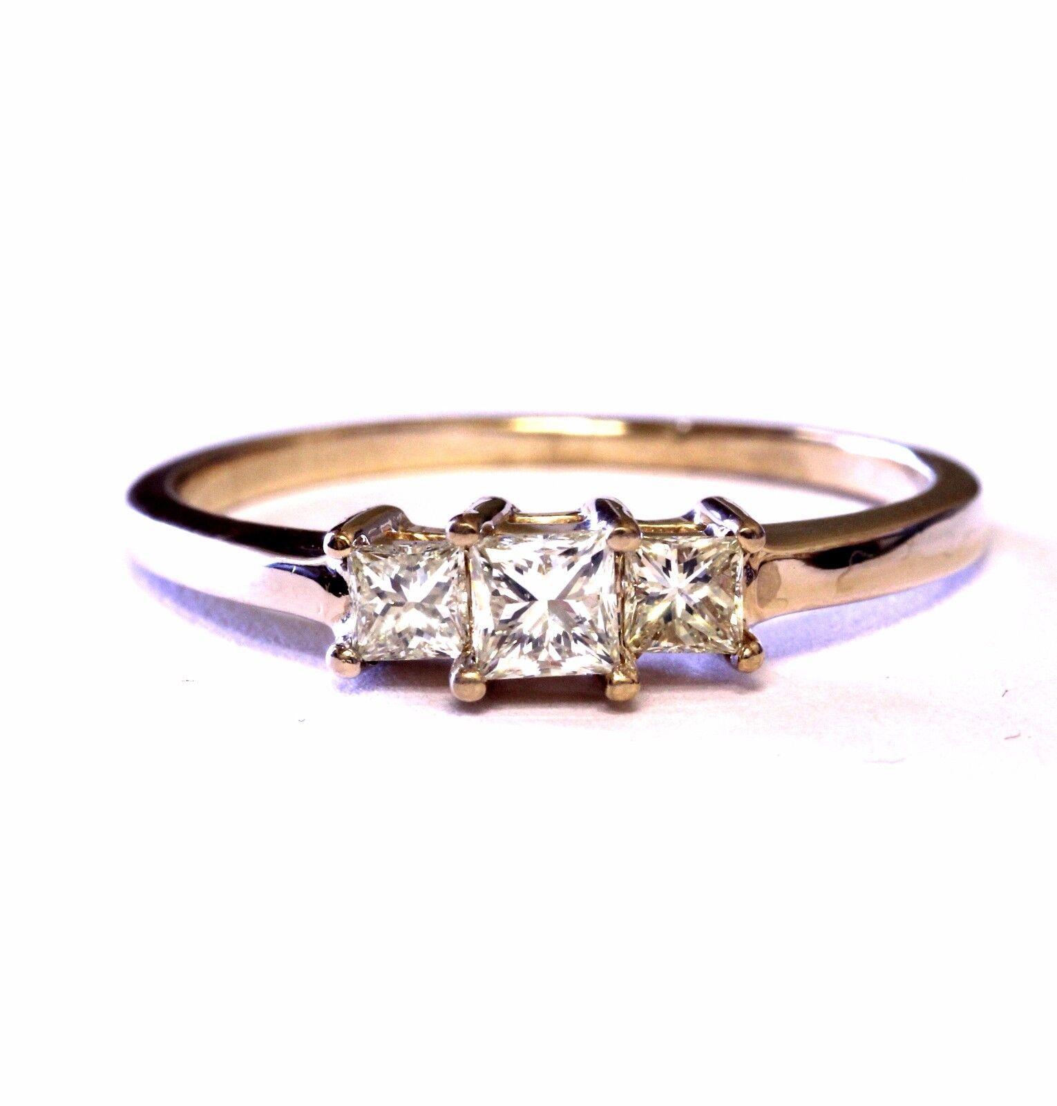 14k yellow gold .55ct diamond 3 princess engagement ring 3.3g vintage womens