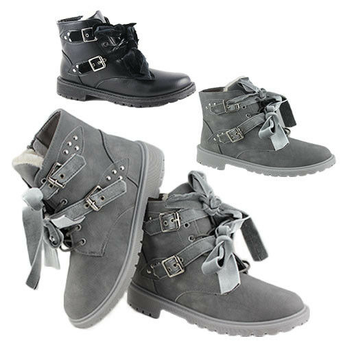 WOMENS ARMY RIBBON BUCKLE LACE UP COMBAT BIKER MILITARY LADIES ANKLE BOOTS 3-8