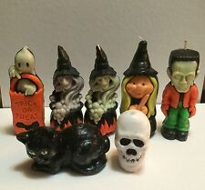 Lot Of 7 Halloween Candles Witch Ghost Frankenstein Skull Black Cat Trick Treat