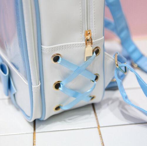 Girls CLEAR ita bag Transparent itabag Pin Display Backpack school Travel bags