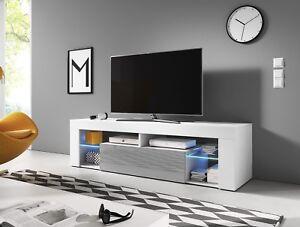 Hugo-2-Meuble-TV-moderne-160-cm-Blanc-Noir-Effet-Chene-LED-bleue-design-salon