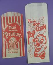 Original Vintage Circus Clown Pop Corn Bag & Elephant Peanuts Bag
