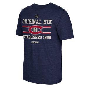 Montreal-Canadiens-CCM-034-Original-Six-034-Vintage-Tri-Blend-Navy-Blue-T-Shirt-Men-039-s