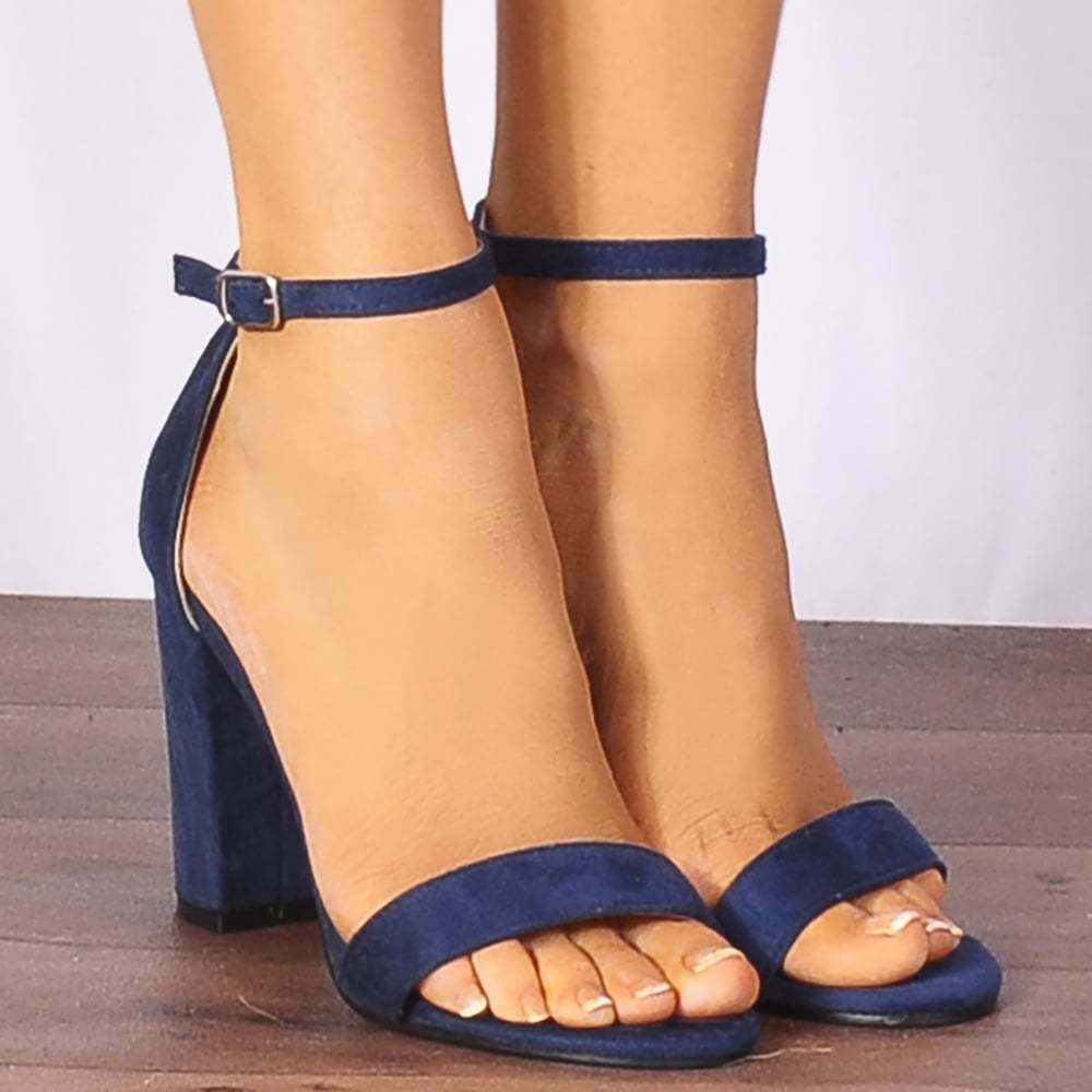 NAVY blueE ANKLE STRAP BLOCK PEEP TOES STRAPPY SANDALS HIGH HEELS SHOES SIZE