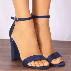 43c080128df NAVY BLUE ANKLE STRAP BLOCK PEEP TOES STRAPPY SANDALS HIGH HEELS ...