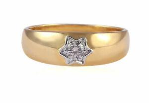 Classy-0-20-Cts-Naturel-Diamant-Unisexe-Spinner-Band-Bague-En-585-Solide-14K-Or