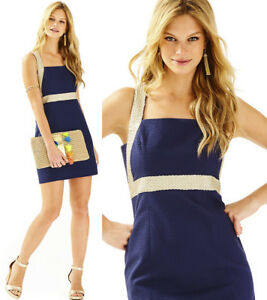 82c666d27c90d  198 Lilly Pulitzer Eliana True Navy Braided Gold Cocktail Shift ...