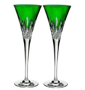 Waterford-Lismore-Pops-Emerald-Champagne-Toasting-Flutes-SET-2-40019533-New