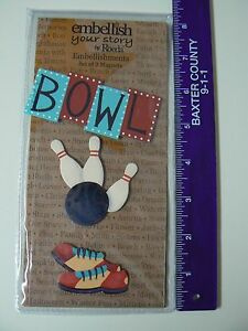 Embellish-Your-Story-Magnets-BOWLING-SET-3-Assorted-Pins-Ball-Shoes-Bowl-NEW