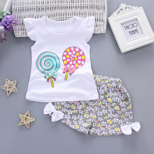 Summer 2PC Toddler Kid Baby Girl Outfit Lolly T-shirt Top+Short Pant Clothes Set