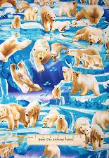 Polar Bear Animal Fabric ~ 100% Cotton By Yard ~ Timeless Treasures C1825 Scenic