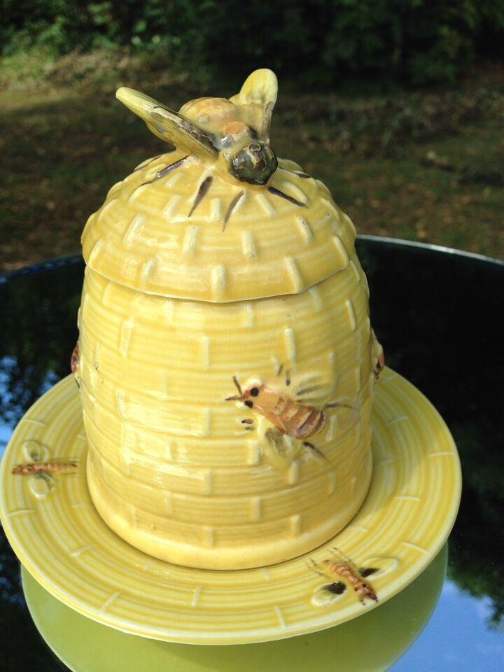 Skøn antik honning krukke i porcelæn, + 100 år gammel