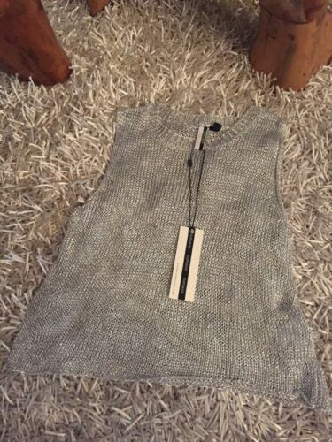 in nuovo Top gilet maglia Gr in 38 Top fine argento Topshop BvpvH7qxnw