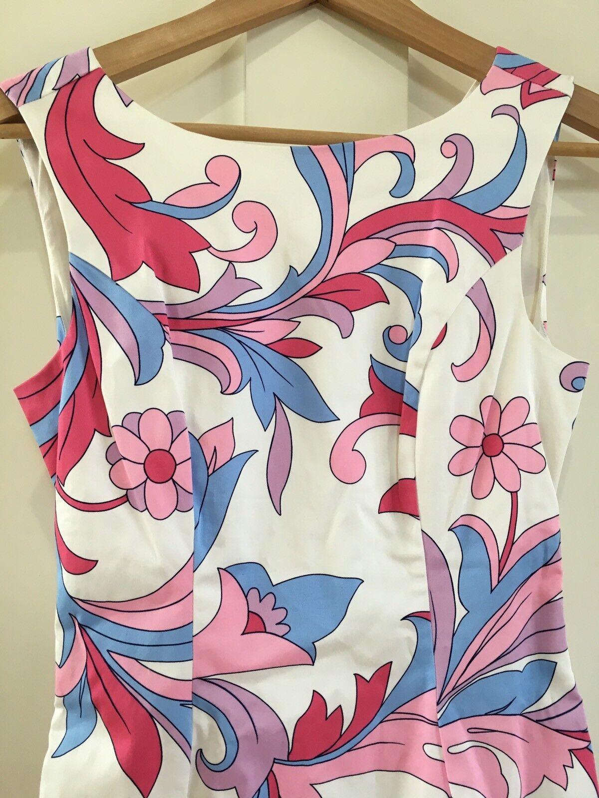 NWT Tori Richard Florenza Dress Floral White Pink Pink Pink Size 4  130 5295b4
