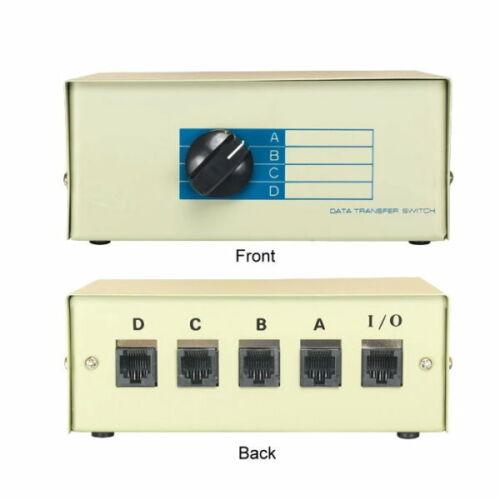 Kentek RJ45 4Way Manual Data Switch Box Network IO ABCD Rotary Network CAT5 CAT6